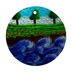 Beaded Landscape Textured Abstract Landscape With Sea Waves In The Foreground And Trees In The Background Round Ornament (two Sides)