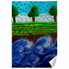 Beaded Landscape Textured Abstract Landscape With Sea Waves In The Foreground And Trees In The Background Canvas 12  X 18