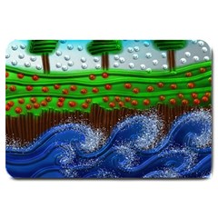Beaded Landscape Textured Abstract Landscape With Sea Waves In The Foreground And Trees In The Background Large Doormat  by Nexatart