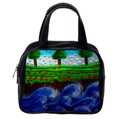 Beaded Landscape Textured Abstract Landscape With Sea Waves In The Foreground And Trees In The Background Classic Handbags (one Side) by Nexatart