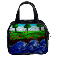 Beaded Landscape Textured Abstract Landscape With Sea Waves In The Foreground And Trees In The Background Classic Handbags (2 Sides) by Nexatart