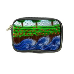 Beaded Landscape Textured Abstract Landscape With Sea Waves In The Foreground And Trees In The Background Coin Purse by Nexatart