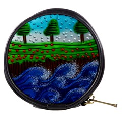 Beaded Landscape Textured Abstract Landscape With Sea Waves In The Foreground And Trees In The Background Mini Makeup Bags by Nexatart