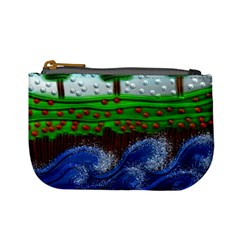 Beaded Landscape Textured Abstract Landscape With Sea Waves In The Foreground And Trees In The Background Mini Coin Purses