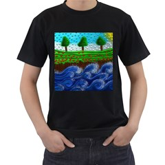 Beaded Landscape Textured Abstract Landscape With Sea Waves In The Foreground And Trees In The Background Men s T Shirt (black)