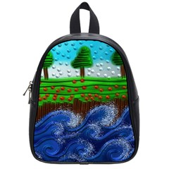 Beaded Landscape Textured Abstract Landscape With Sea Waves In The Foreground And Trees In The Background School Bags (small)  by Nexatart