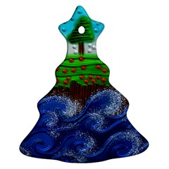 Beaded Landscape Textured Abstract Landscape With Sea Waves In The Foreground And Trees In The Background Christmas Tree Ornament (two Sides)