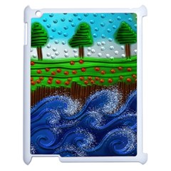Beaded Landscape Textured Abstract Landscape With Sea Waves In The Foreground And Trees In The Background Apple Ipad 2 Case (white) by Nexatart