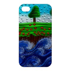 Beaded Landscape Textured Abstract Landscape With Sea Waves In The Foreground And Trees In The Background Apple Iphone 4/4s Hardshell Case