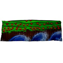 Beaded Landscape Textured Abstract Landscape With Sea Waves In The Foreground And Trees In The Background Body Pillow Case Dakimakura (two Sides)