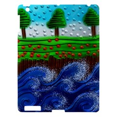 Beaded Landscape Textured Abstract Landscape With Sea Waves In The Foreground And Trees In The Background Apple Ipad 3/4 Hardshell Case by Nexatart