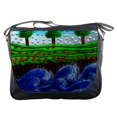 Beaded Landscape Textured Abstract Landscape With Sea Waves In The Foreground And Trees In The Background Messenger Bags