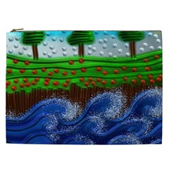 Beaded Landscape Textured Abstract Landscape With Sea Waves In The Foreground And Trees In The Background Cosmetic Bag (xxl)  by Nexatart