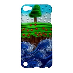 Beaded Landscape Textured Abstract Landscape With Sea Waves In The Foreground And Trees In The Background Apple Ipod Touch 5 Hardshell Case