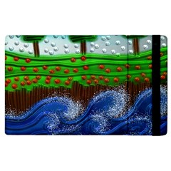 Beaded Landscape Textured Abstract Landscape With Sea Waves In The Foreground And Trees In The Background Apple Ipad 3/4 Flip Case