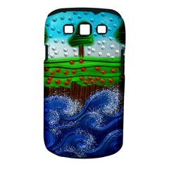 Beaded Landscape Textured Abstract Landscape With Sea Waves In The Foreground And Trees In The Background Samsung Galaxy S Iii Classic Hardshell Case (pc+silicone)