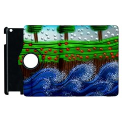 Beaded Landscape Textured Abstract Landscape With Sea Waves In The Foreground And Trees In The Background Apple Ipad 2 Flip 360 Case by Nexatart