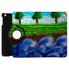Beaded Landscape Textured Abstract Landscape With Sea Waves In The Foreground And Trees In The Background Apple Ipad Mini Flip 360 Case