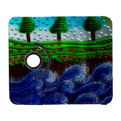 Beaded Landscape Textured Abstract Landscape With Sea Waves In The Foreground And Trees In The Background Galaxy S3 (flip/folio) by Nexatart