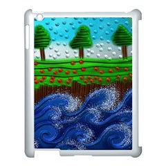 Beaded Landscape Textured Abstract Landscape With Sea Waves In The Foreground And Trees In The Background Apple Ipad 3/4 Case (white) by Nexatart