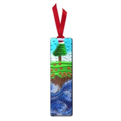 Beaded Landscape Textured Abstract Landscape With Sea Waves In The Foreground And Trees In The Background Small Book Marks by Nexatart