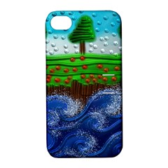 Beaded Landscape Textured Abstract Landscape With Sea Waves In The Foreground And Trees In The Background Apple Iphone 4/4s Hardshell Case With Stand by Nexatart
