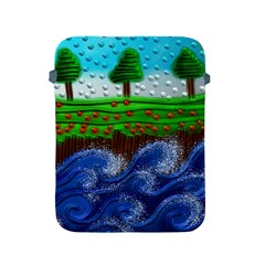 Beaded Landscape Textured Abstract Landscape With Sea Waves In The Foreground And Trees In The Background Apple Ipad 2/3/4 Protective Soft Cases