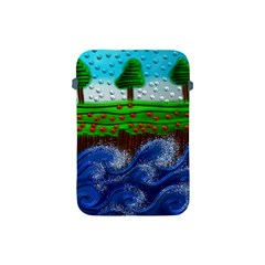 Beaded Landscape Textured Abstract Landscape With Sea Waves In The Foreground And Trees In The Background Apple Ipad Mini Protective Soft Cases by Nexatart