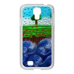 Beaded Landscape Textured Abstract Landscape With Sea Waves In The Foreground And Trees In The Background Samsung Galaxy S4 I9500/ I9505 Case (white) by Nexatart