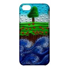 Beaded Landscape Textured Abstract Landscape With Sea Waves In The Foreground And Trees In The Background Apple Iphone 5c Hardshell Case by Nexatart