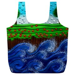 Beaded Landscape Textured Abstract Landscape With Sea Waves In The Foreground And Trees In The Background Full Print Recycle Bags (l)