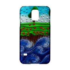 Beaded Landscape Textured Abstract Landscape With Sea Waves In The Foreground And Trees In The Background Samsung Galaxy S5 Hardshell Case  by Nexatart
