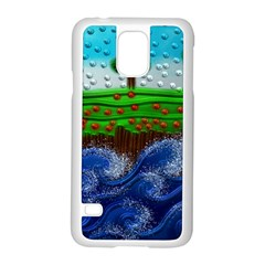Beaded Landscape Textured Abstract Landscape With Sea Waves In The Foreground And Trees In The Background Samsung Galaxy S5 Case (white)