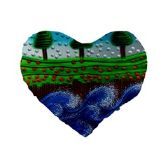 Beaded Landscape Textured Abstract Landscape With Sea Waves In The Foreground And Trees In The Background Standard 16  Premium Flano Heart Shape Cushions by Nexatart