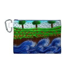 Beaded Landscape Textured Abstract Landscape With Sea Waves In The Foreground And Trees In The Background Canvas Cosmetic Bag (M) by Nexatart