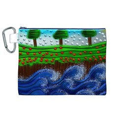 Beaded Landscape Textured Abstract Landscape With Sea Waves In The Foreground And Trees In The Background Canvas Cosmetic Bag (xl) by Nexatart