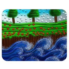 Beaded Landscape Textured Abstract Landscape With Sea Waves In The Foreground And Trees In The Background Double Sided Flano Blanket (medium)