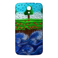 Beaded Landscape Textured Abstract Landscape With Sea Waves In The Foreground And Trees In The Background Samsung Galaxy Mega I9200 Hardshell Back Case by Nexatart