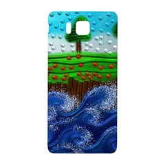 Beaded Landscape Textured Abstract Landscape With Sea Waves In The Foreground And Trees In The Background Samsung Galaxy Alpha Hardshell Back Case