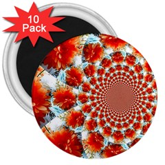 Stylish Background With Flowers 3  Magnets (10 Pack)  by Nexatart