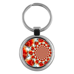 Stylish Background With Flowers Key Chains (round)  by Nexatart