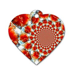Stylish Background With Flowers Dog Tag Heart (one Side)