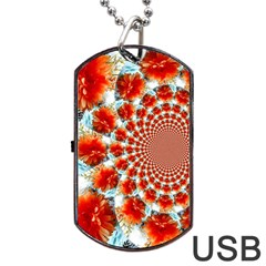 Stylish Background With Flowers Dog Tag Usb Flash (one Side) by Nexatart