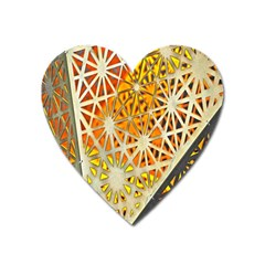 Abstract Starburst Background Wallpaper Of Metal Starburst Decoration With Orange And Yellow Back Heart Magnet by Nexatart
