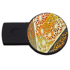 Abstract Starburst Background Wallpaper Of Metal Starburst Decoration With Orange And Yellow Back Usb Flash Drive Round (4 Gb) by Nexatart