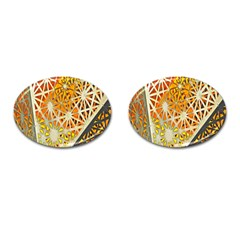 Abstract Starburst Background Wallpaper Of Metal Starburst Decoration With Orange And Yellow Back Cufflinks (oval) by Nexatart
