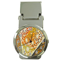 Abstract Starburst Background Wallpaper Of Metal Starburst Decoration With Orange And Yellow Back Money Clip Watches by Nexatart
