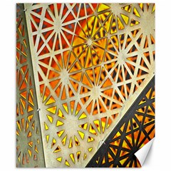 Abstract Starburst Background Wallpaper Of Metal Starburst Decoration With Orange And Yellow Back Canvas 8  X 10  by Nexatart