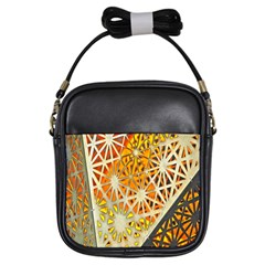Abstract Starburst Background Wallpaper Of Metal Starburst Decoration With Orange And Yellow Back Girls Sling Bags by Nexatart