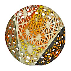 Abstract Starburst Background Wallpaper Of Metal Starburst Decoration With Orange And Yellow Back Ornament (round Filigree) by Nexatart
